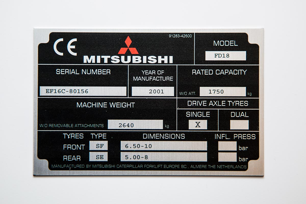 custom metal label for a mitsubishi appliance