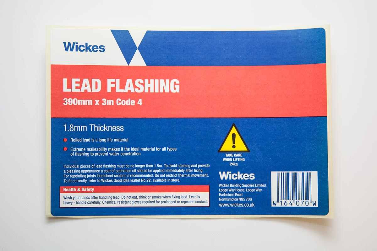 red and blue custom paper label for lead flashing