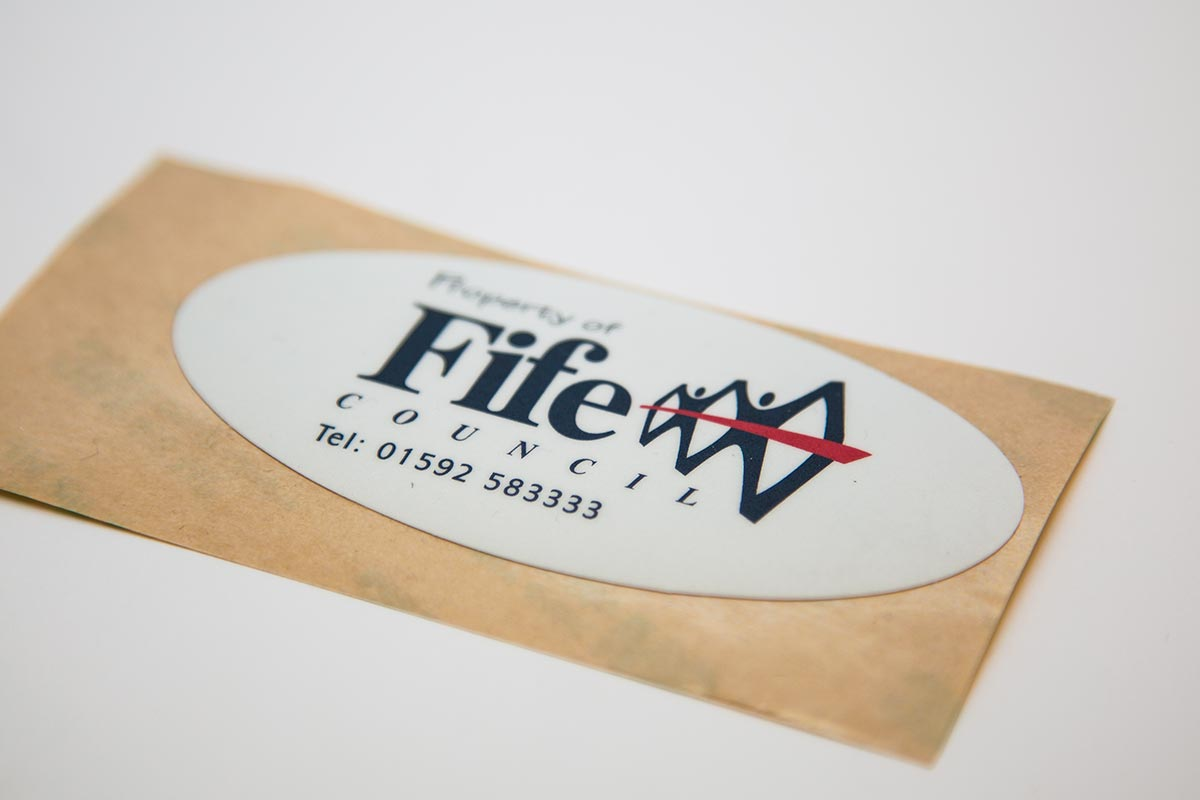 custom plastic label for fife council