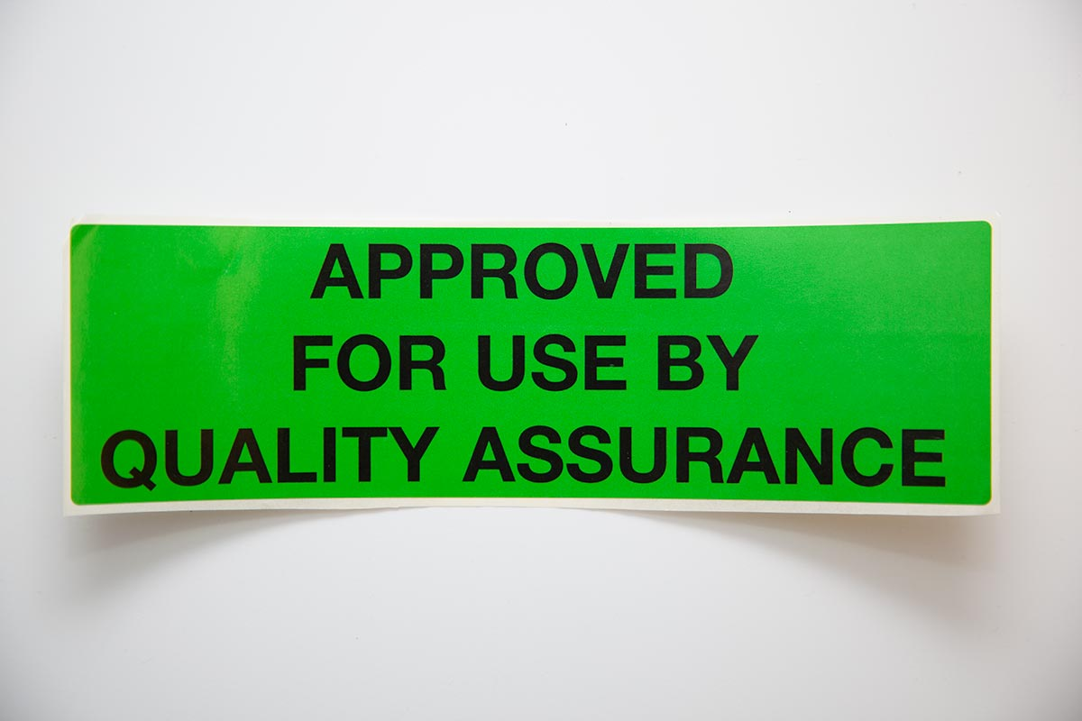 bright green approved for use by quality assurance custom thermal label