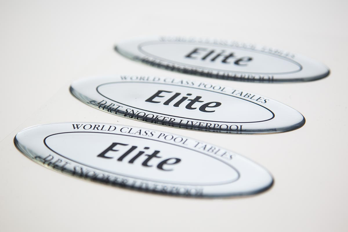 three domed labels for elite snooker tables