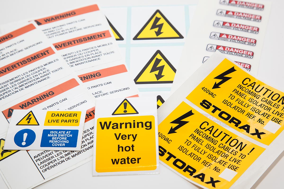 group of industrial warning labels