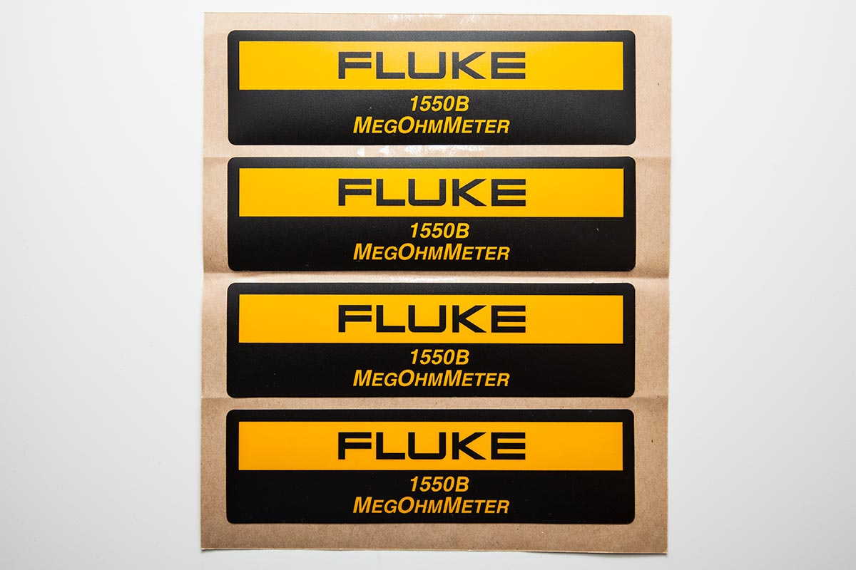 sheet of fluke brand industrial labels
