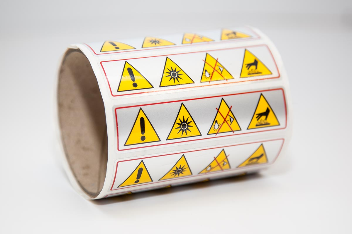 full colour polyester warning labels