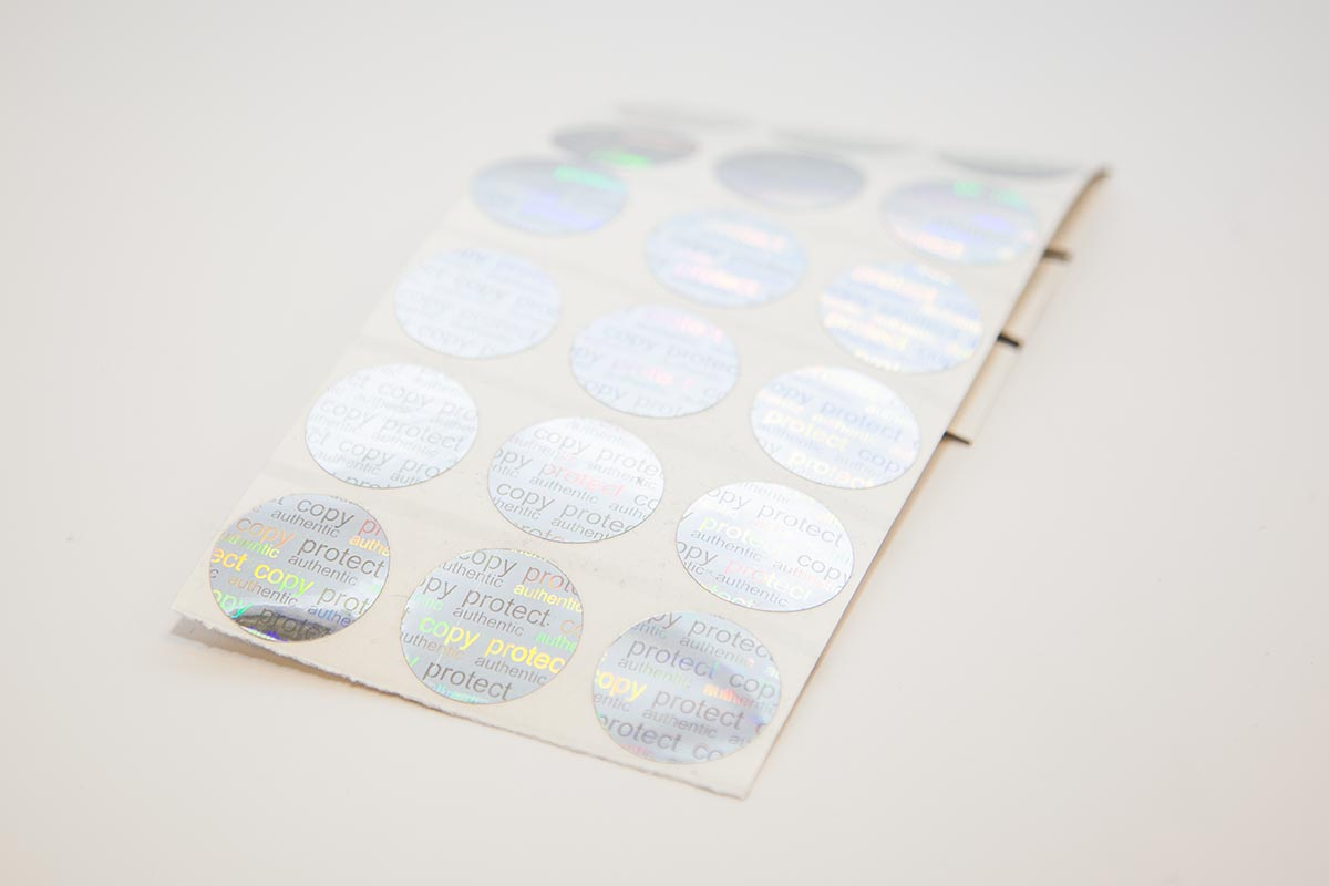 holographic circular void labels