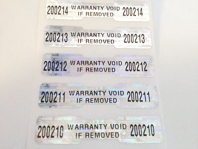 sheet of holographic warranty labels